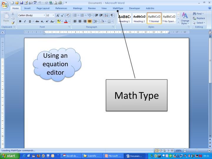 Using an equation editor