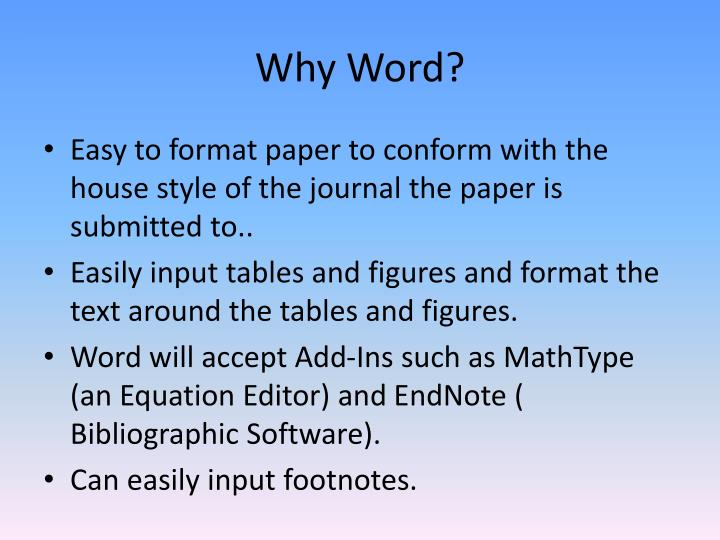 Why Word?