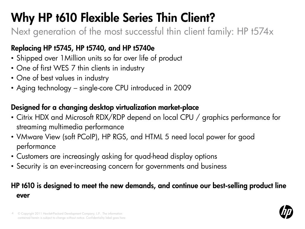 PPT - HP t610 and t510 : Introducing HP's Fastest Flexible