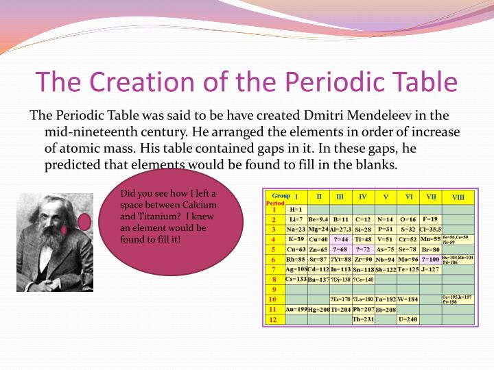 the creation of the periodic table