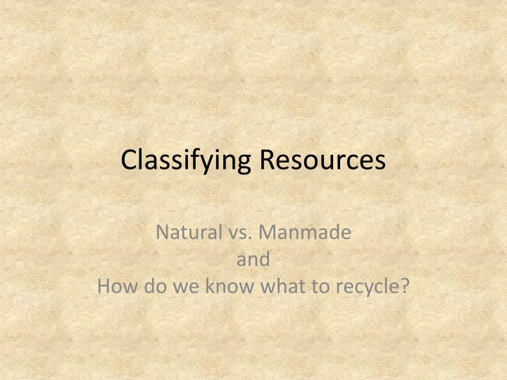 classifying resources n.