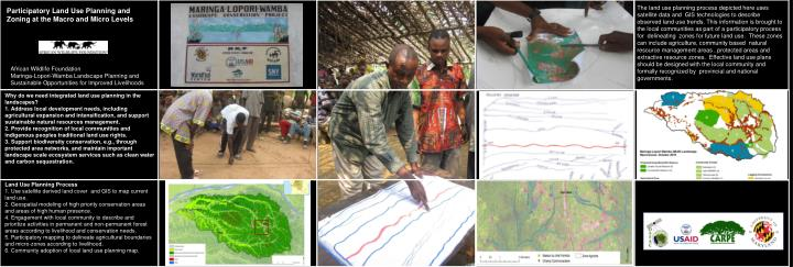 The land use planning process depicted here uses satellite data and  GIS technologies to describe  observed land use trends. This information is brought to the local communities as part of a participatory process for