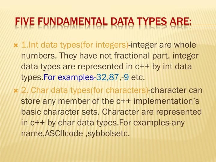Five fundamental data types are