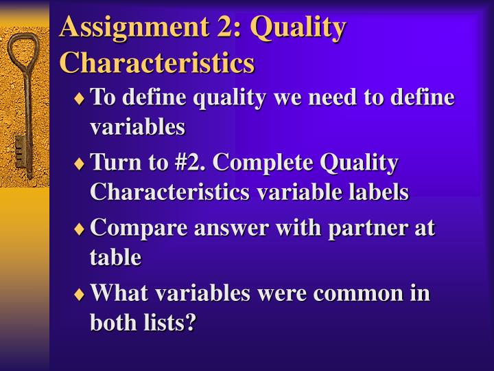 Assignment 2: Quality Characteristics