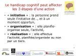 le handicap cognitif peut affecter les 3 tapes d une action