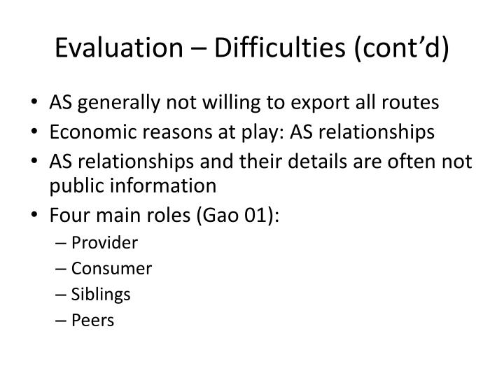 Evaluation – Difficulties (cont'd)