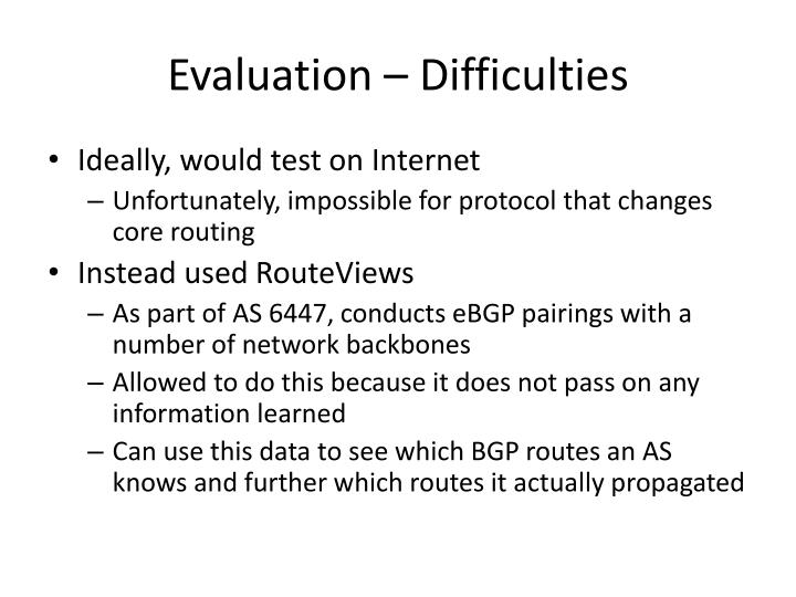 Evaluation – Difficulties