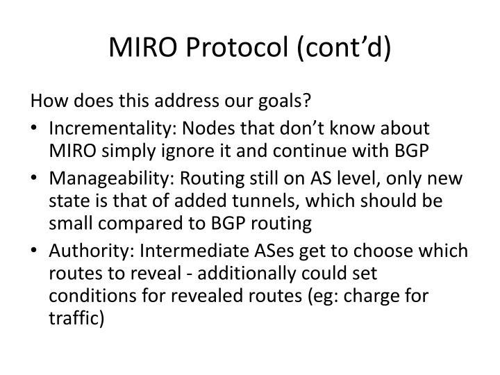MIRO Protocol (cont'd)