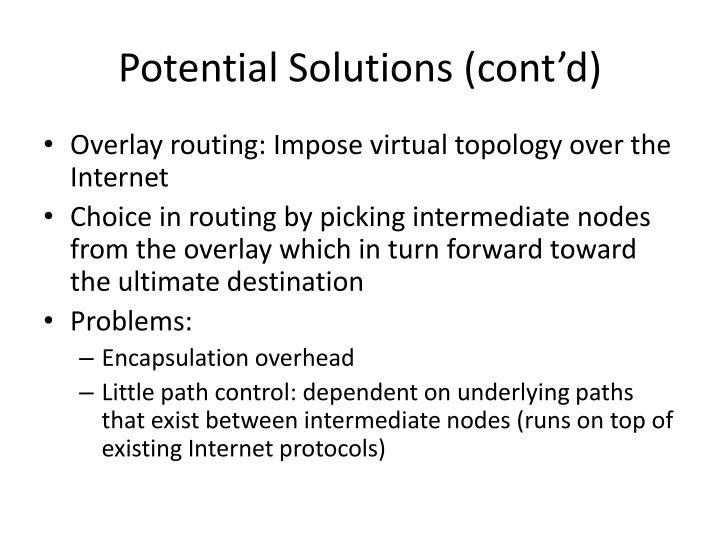 Potential Solutions (cont'd)