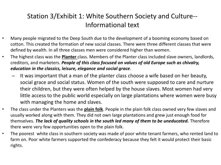 Station 3 exhibit 1 white southern society and culture informational text