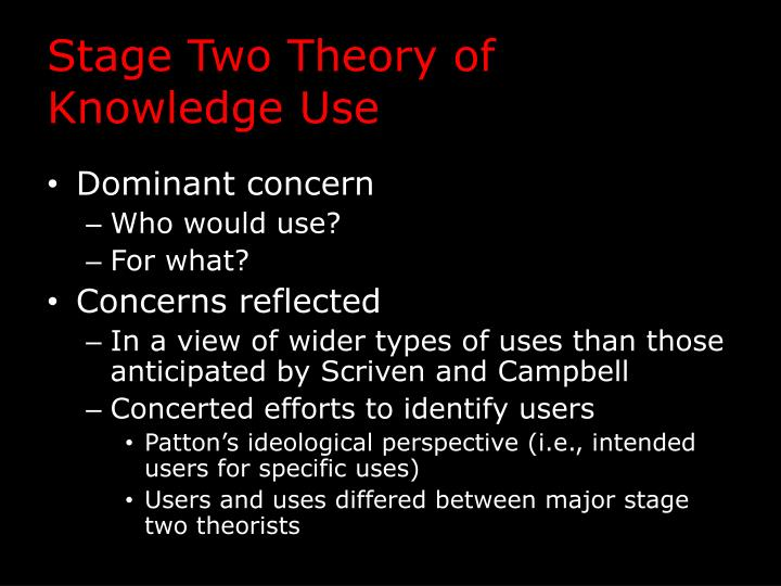 Stage Two Theory of Knowledge Use