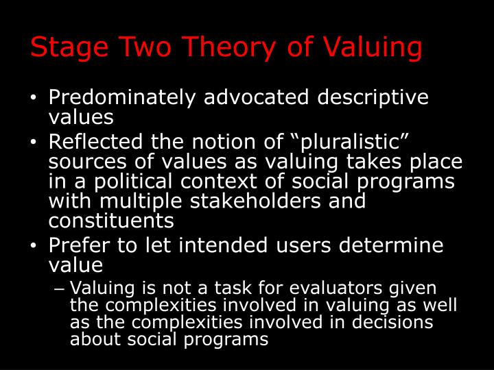 Stage Two Theory of Valuing