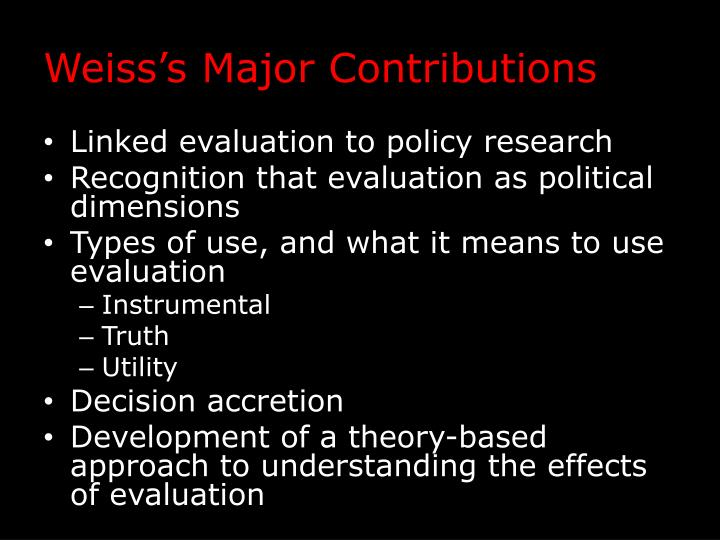 Weiss's Major Contributions