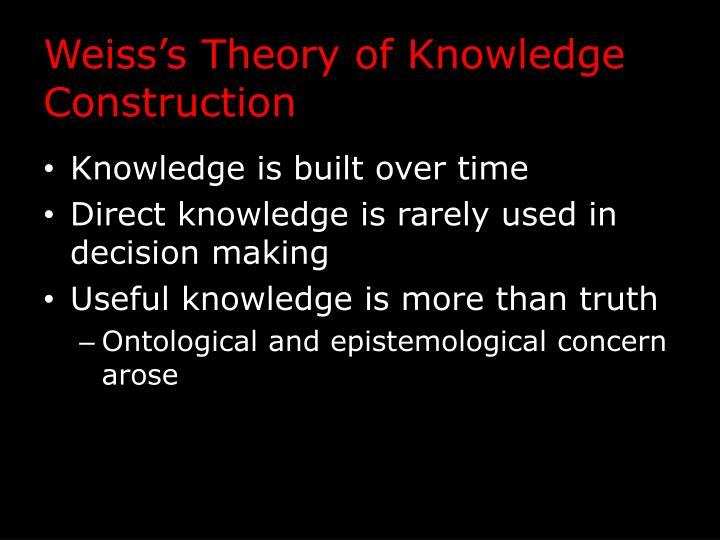 Weiss's Theory of Knowledge Construction