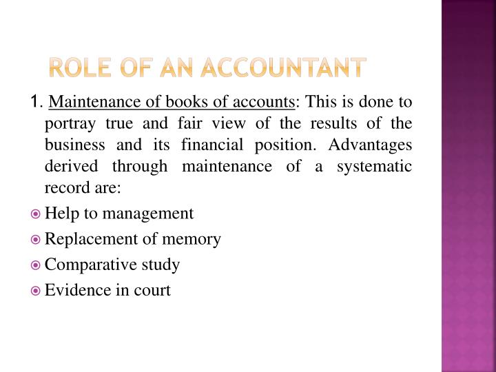 Role of an accountant