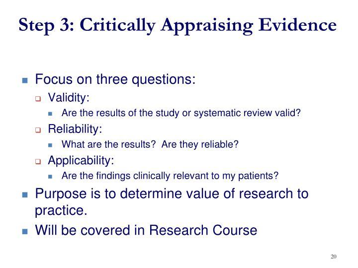 evidence critical appraisal nursing