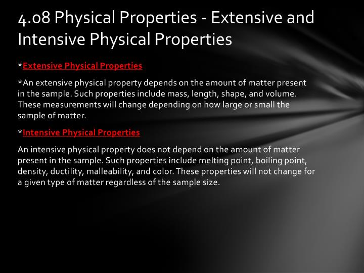 4.08 Physical Properties - Extensive and Intensive Physical Properties