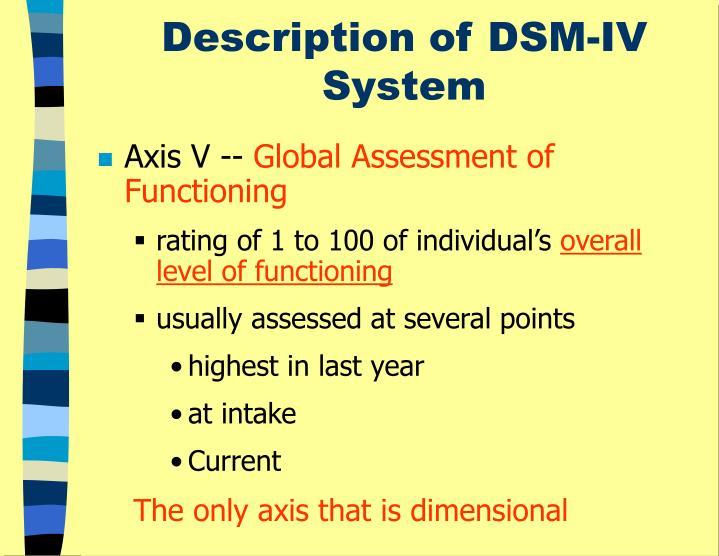 Description of DSM-IV System