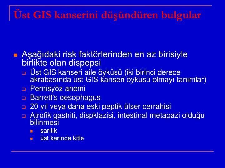 Üst GIS kanserini düşündüren bulgular
