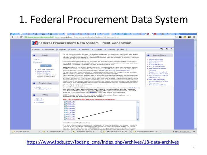 Federal Procurement Data System : Ppt mandates for data transparency in th congress