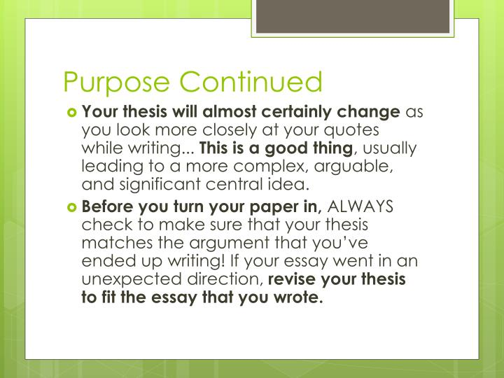 Purpose continued