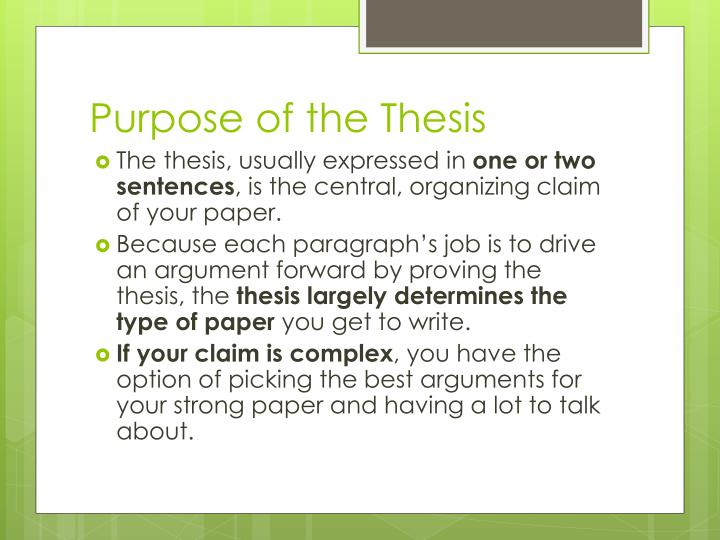 Purpose of the thesis