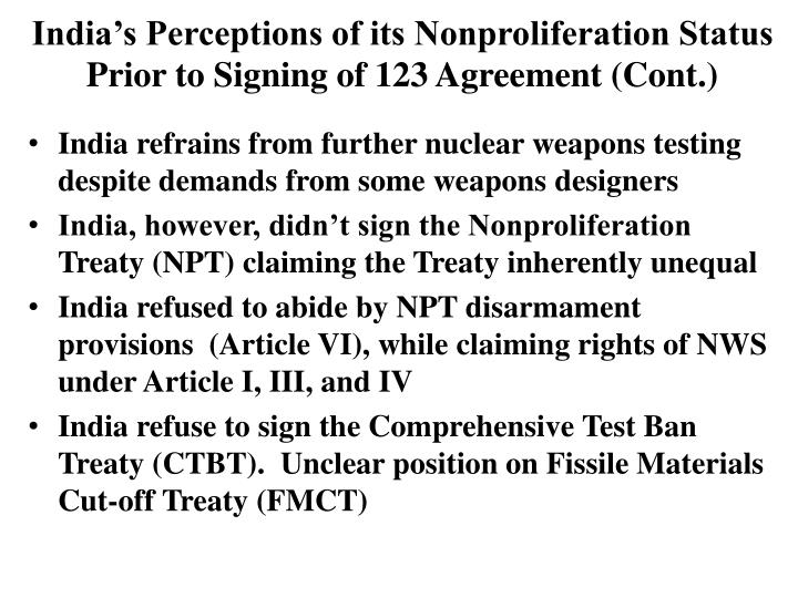 Ppt chaim braun consulting professor center for international indias perceptions of its nonproliferation status prior to signing of 123 agreement platinumwayz