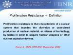 proliferation resistance definition