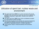 utilization of spent fuel nuclear waste and environment