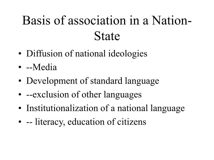 Basis of association in a Nation-State