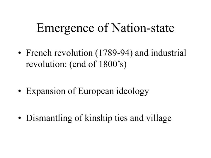 Emergence of nation state