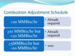 combustion adjustment schedule