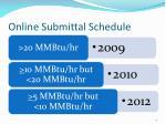 online submittal schedule