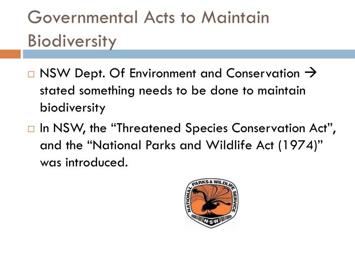 Governmental Acts to Maintain Biodiversity