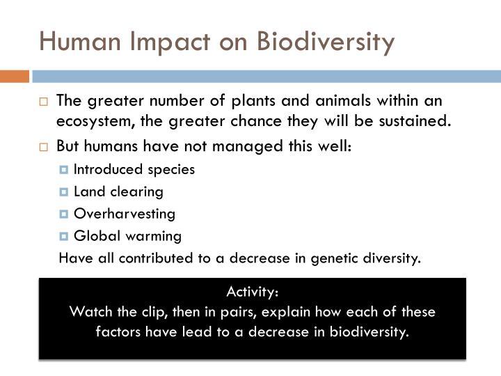 Human Impact on Biodiversity