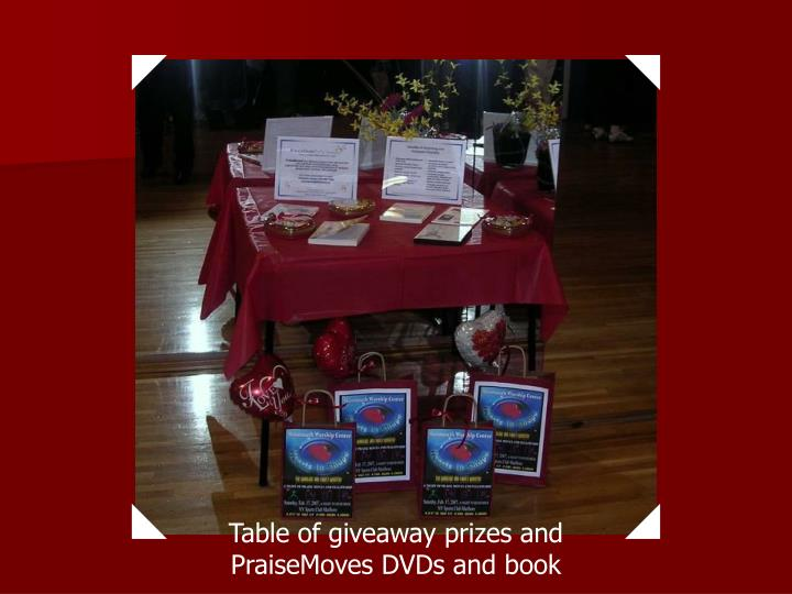 Table of giveaway prizes and