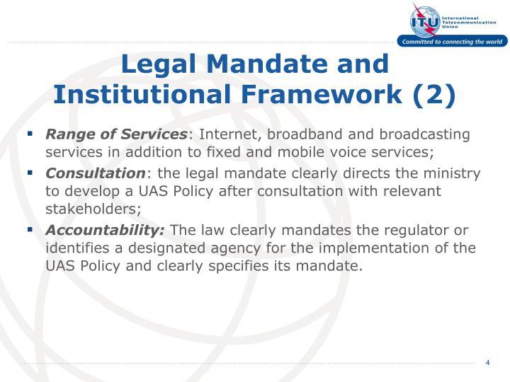 Legal Mandate and Institutional Framework (2)