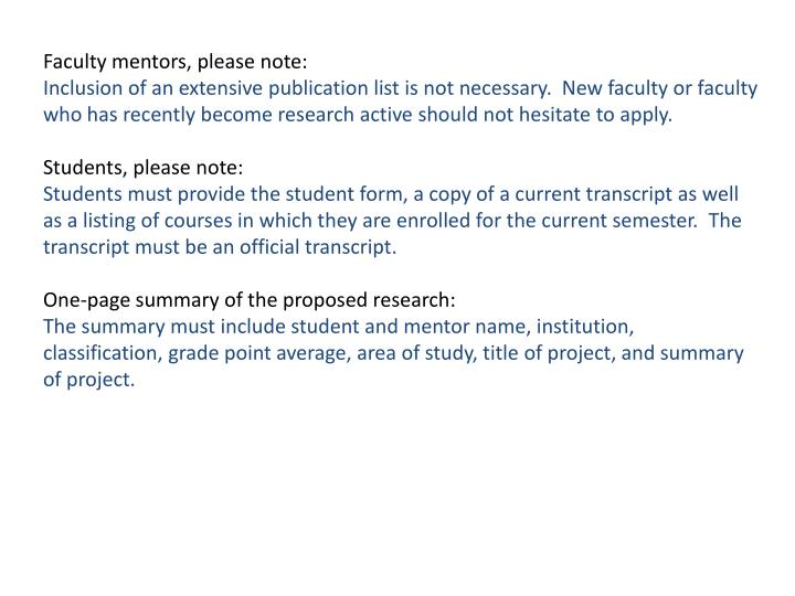 Faculty mentors, please note: