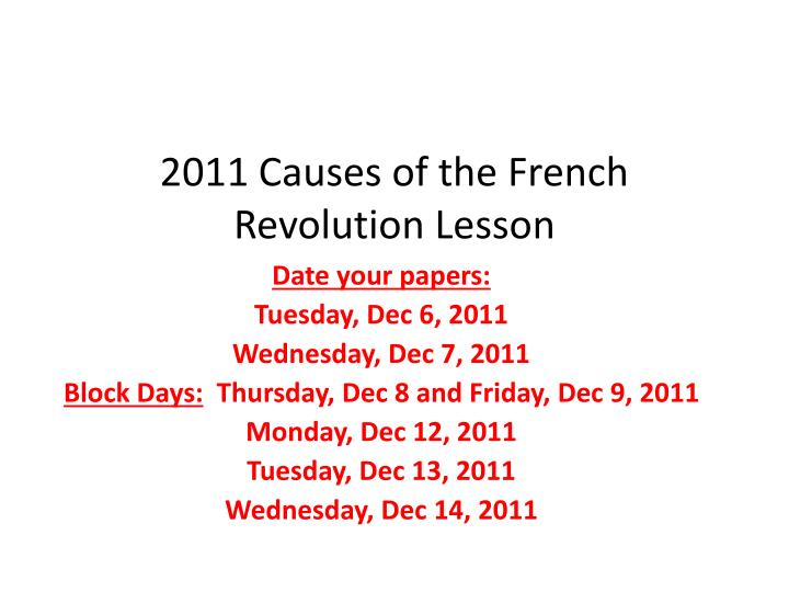 french revolution causes
