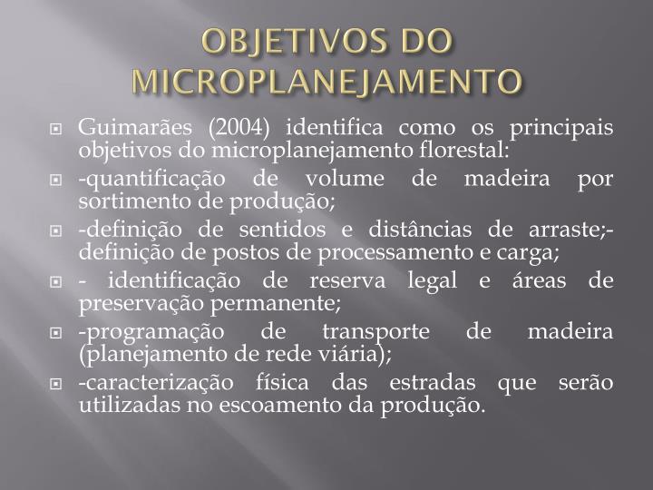 OBJETIVOS DO MICROPLANEJAMENTO