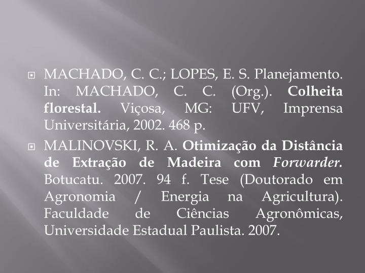 MACHADO, C. C.; LOPES, E. S. Planejamento. In: MACHADO, C. C. (Org.).
