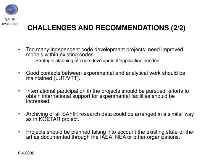CHALLENGES AND RECOMMENDATIONS (2/2)
