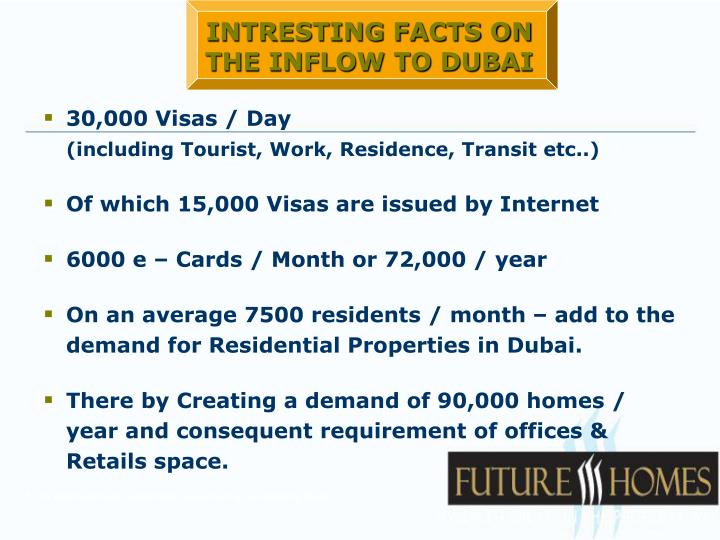 INTRESTING FACTS ON THE INFLOW TO DUBAI