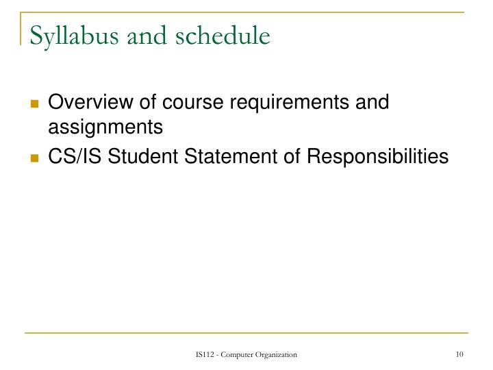 Syllabus and schedule