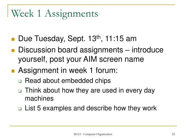 Week 1 Assignments