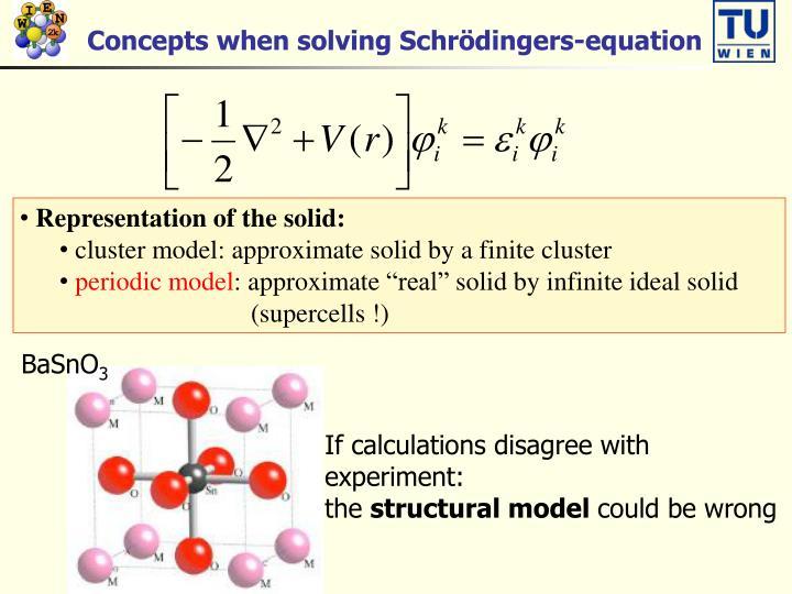Concepts when solving Schrödingers-equation