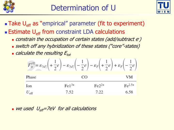 Determination of U