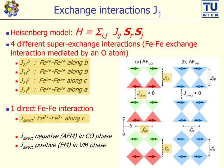 Exchange interactions J