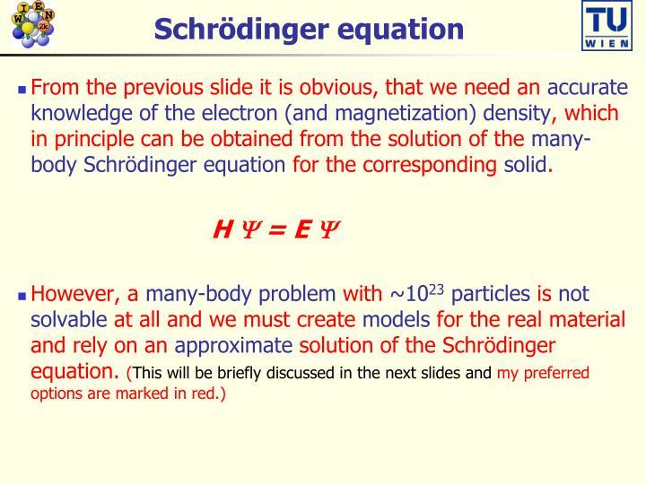Schr dinger equation
