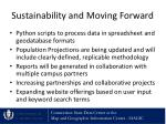 sustainability and moving forward